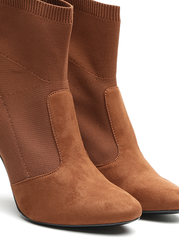 312e082f23c Buy MANGO Women Brown Solid Heeled Boots - Heels for Women 2279025 ...