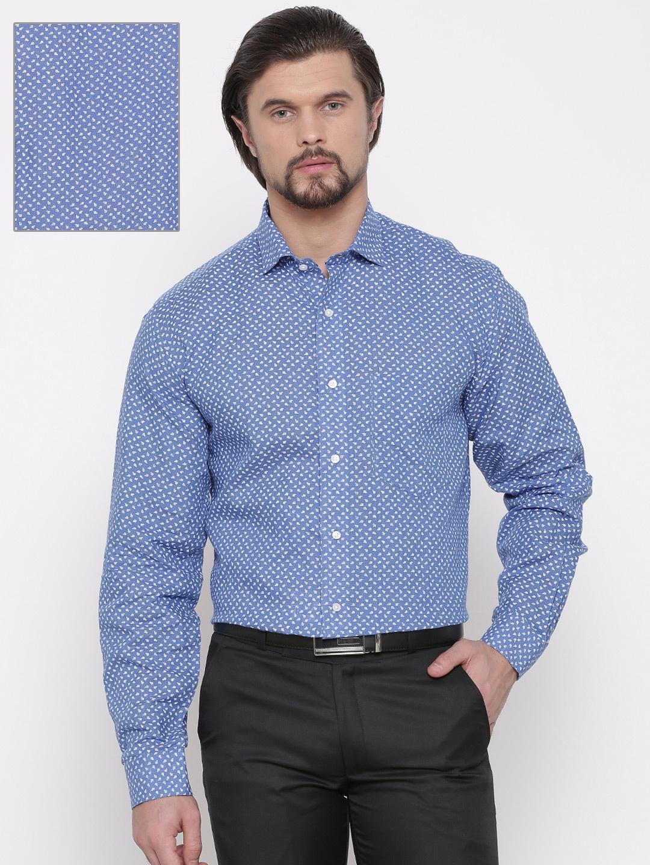 acbf927dd57 Buy Van Heusen Men Blue   White Custom Fit Printed Linen Formal ...