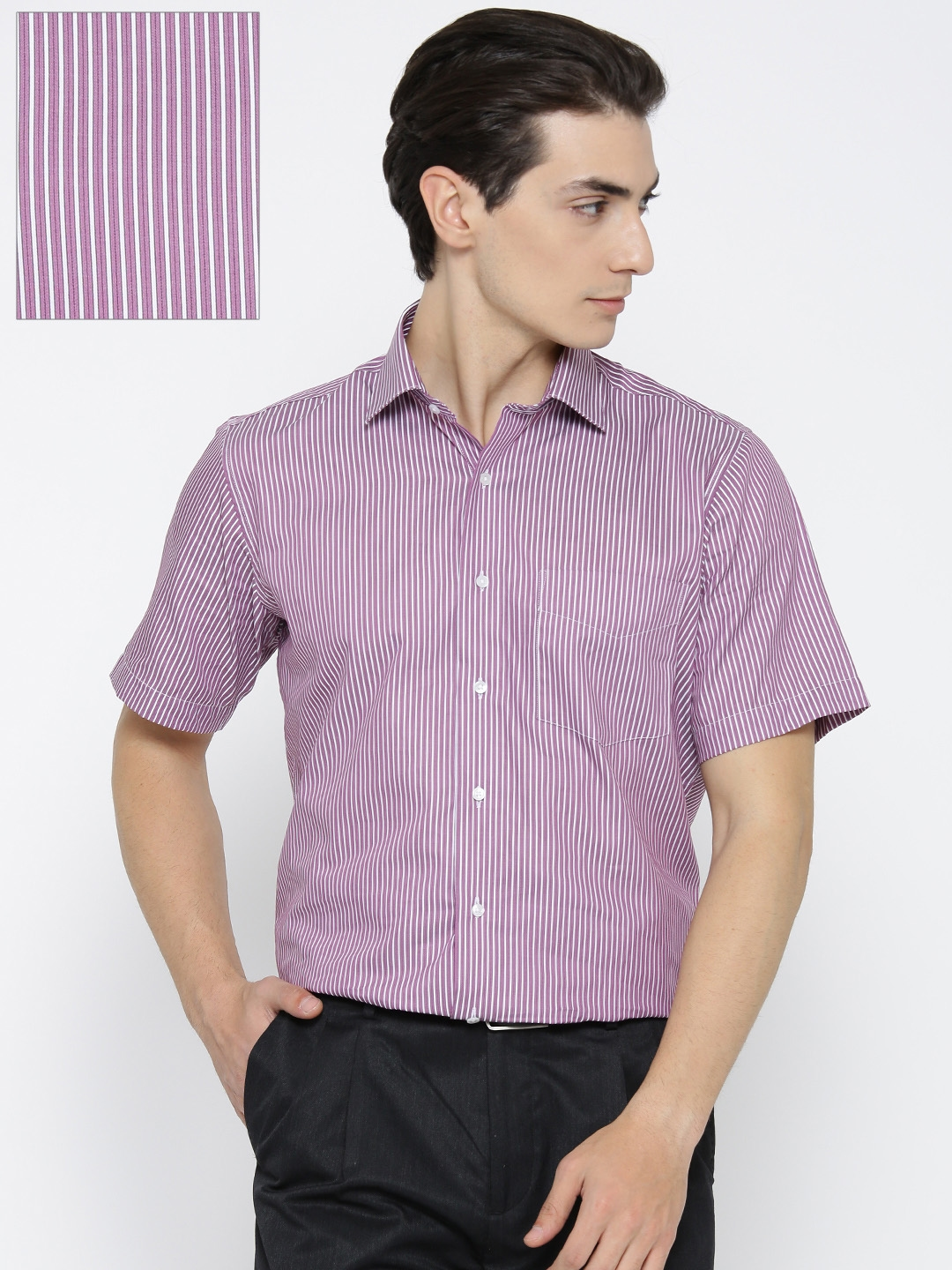 e4c79332873 Buy Van Heusen Men Pink   White Custom Regular Fit Striped Formal ...