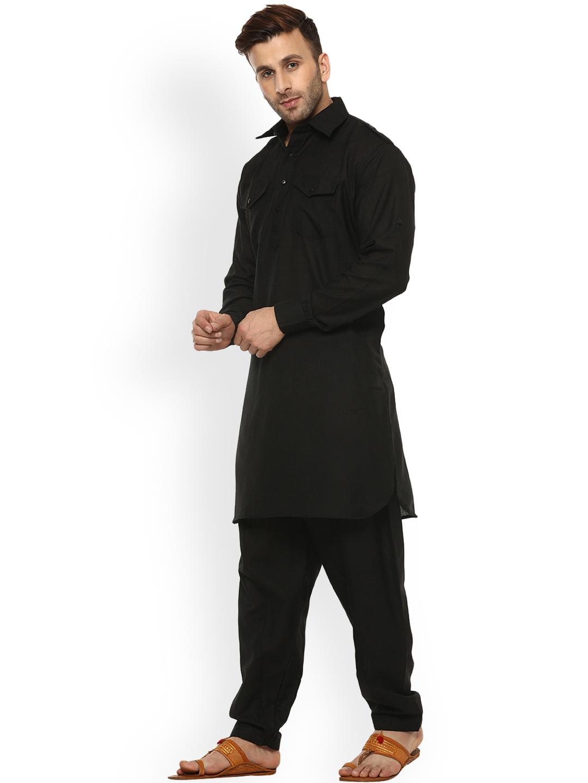 1aca1287f9 Buy Hangup Men Black Solid Pathani Kurta Pyjama - Kurta Sets for Men ...