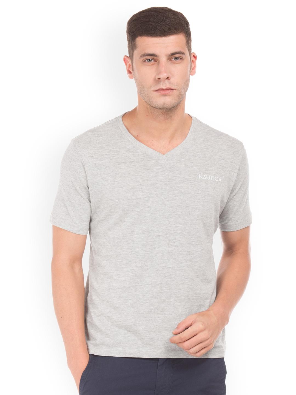 5b8455ae Buy Nautica Men Grey Solid V Neck T Shirt - Tshirts for Men 2281868 ...