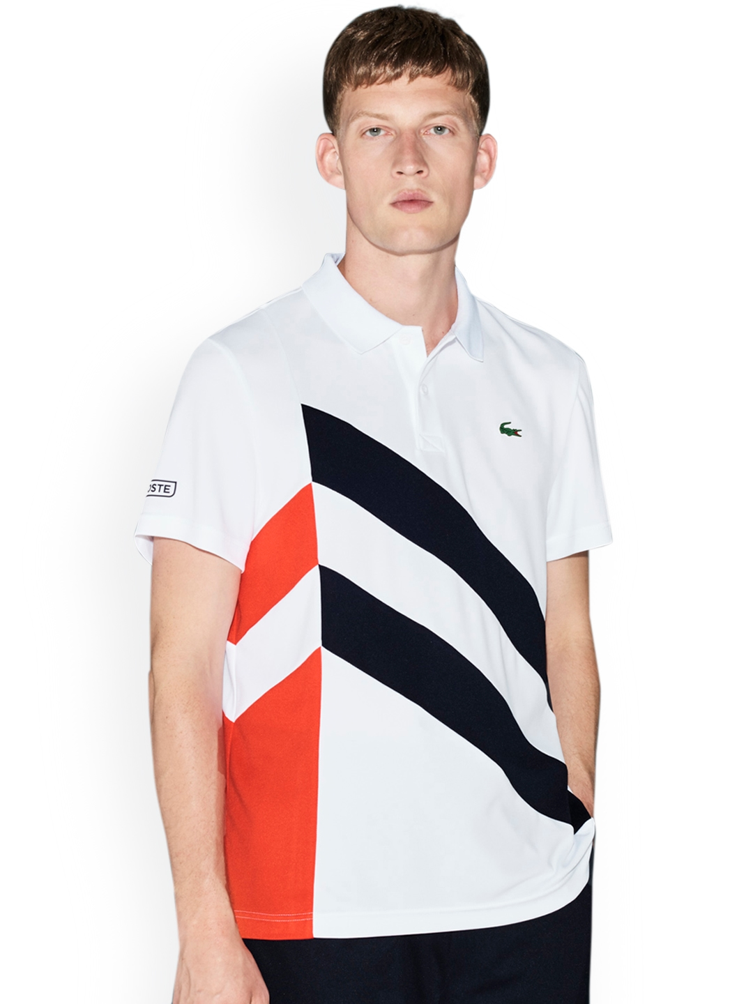 3a3d7b2f Buy Lacoste Men White Striped Polo Collar T Shirt - Tshirts for Men ...