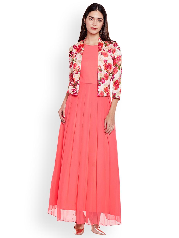 7782392e0a Buy Athena Women Peach Printed Maxi Dress - Dresses for Women ...
