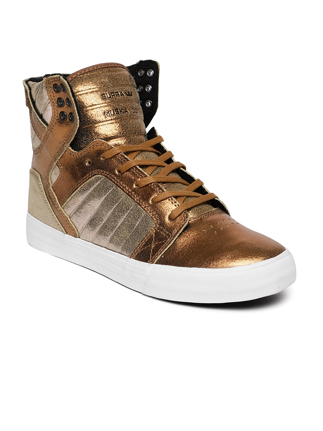 958e38257a24 Supra Women Copper   Rose Gold-Toned Solid SKYTOP High-Top Sneakers