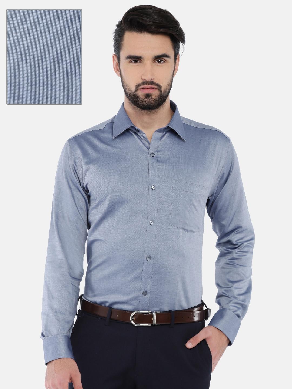 67a6cb42 Buy Park Avenue Men Blue Slim Fit Solid Formal Shirt - Shirts for ...