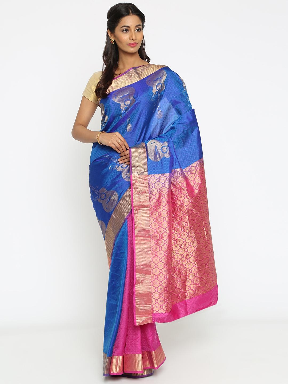 The Chennai Silks Blue Pure Silk Woven Design Kanjeevaram Handloom Saree