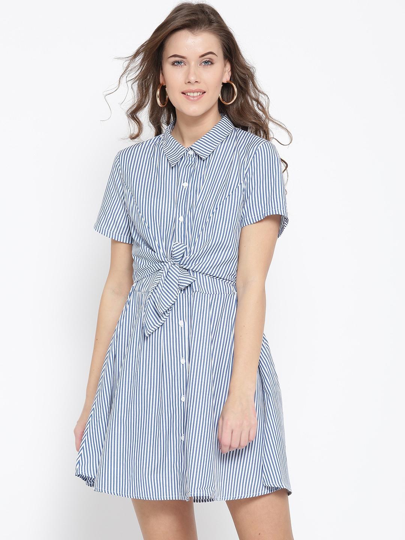 6aa1decc02 Buy FOREVER 21 Women Navy   White Striped Shirt Dress - Dresses for ...