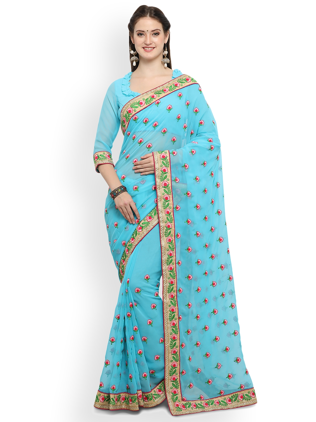 af09b556ba Buy Online Fayda Blue Embroidered Pure Georgette Saree - Sarees for ...