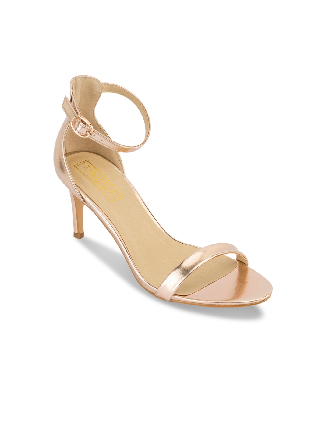 0f28aecd2 Buy Truffle Collection Women Gold Toned Solid Sandals - Heels for ...