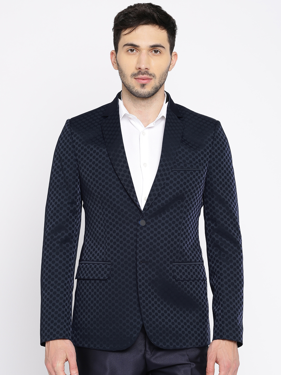 2845b992d718b ethnix by Raymond Blue Self Designed Single-Breasted Tailored Fit Party  Blazer