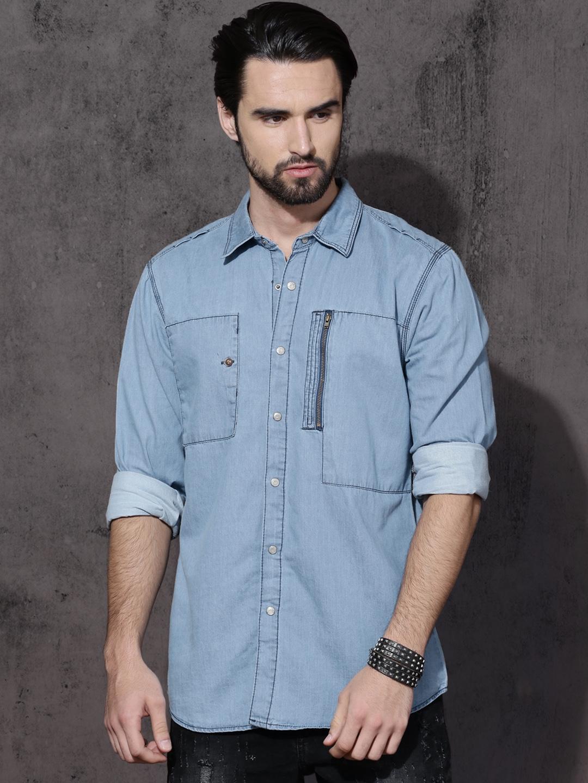 fc452de4c6 Buy Roadster Men Blue Regular Fit Solid Utility Casual Shirt ...