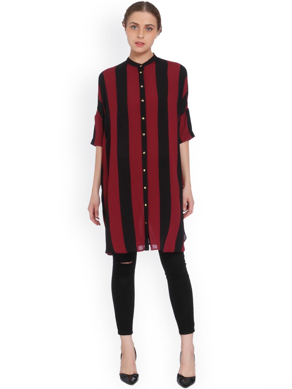 6a0766e0 Buy ONLY Women Burgundy & Black Regular Fit Striped Casual Longline ...