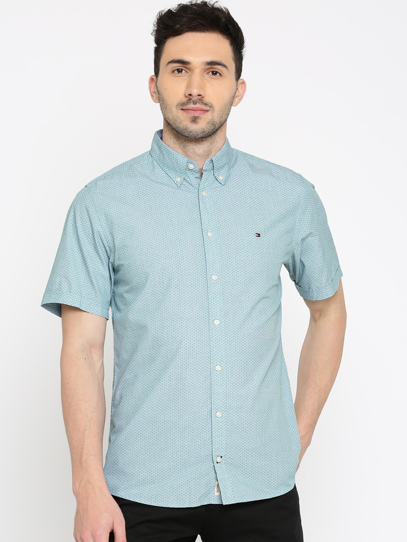 7c2eec4ff Buy Tommy Hilfiger Men Blue New York Slim Fit Printed Casual Shirt ...