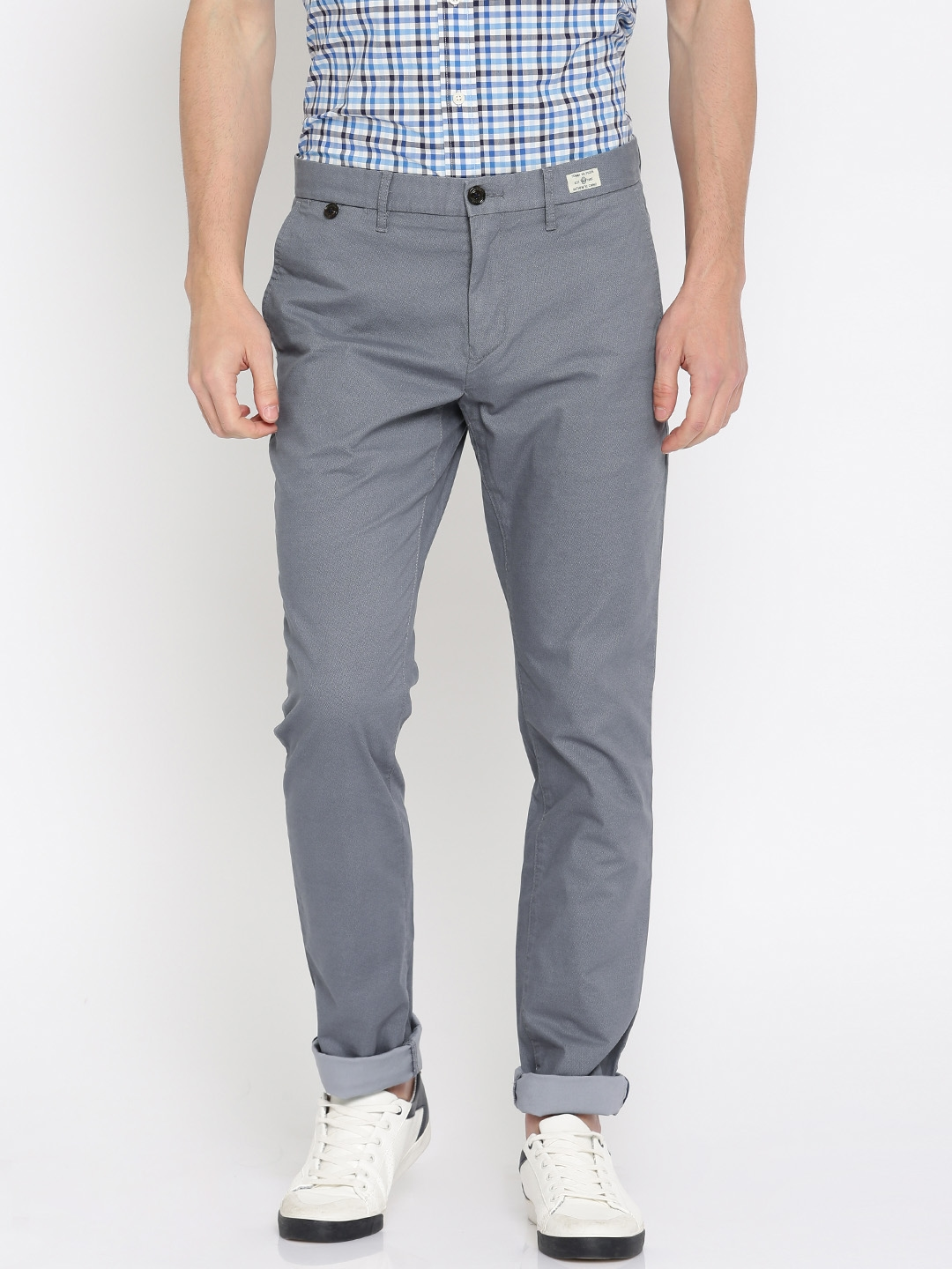 579ef14b Buy Tommy Hilfiger Men Grey Slim Fit Printed Chinos - Trousers for ...
