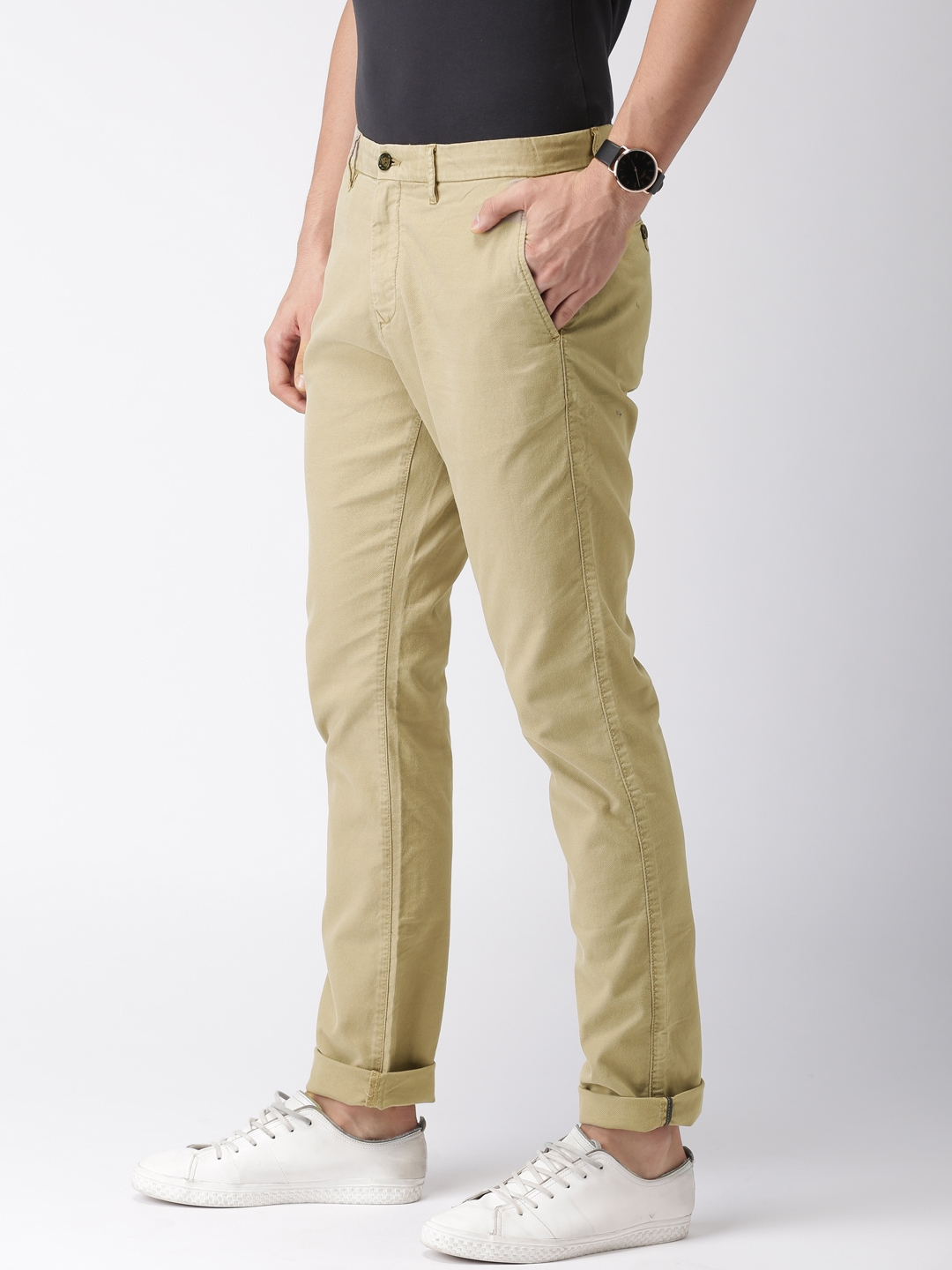 b53eb2fd Buy Tommy Hilfiger Men Khaki Straight Fit Self Design Chinos ...