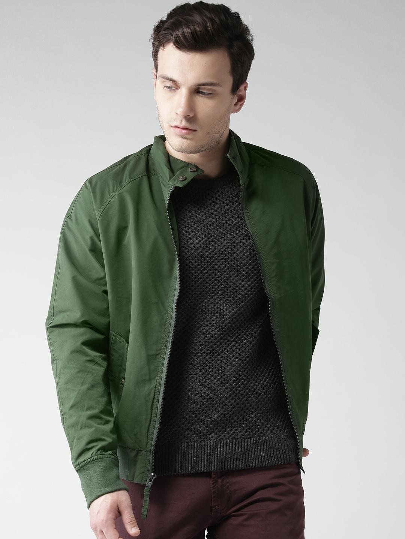 930c34b41cd Buy Aeropostale Men Olive Green Solid Bomber Jacket - Jackets for ...