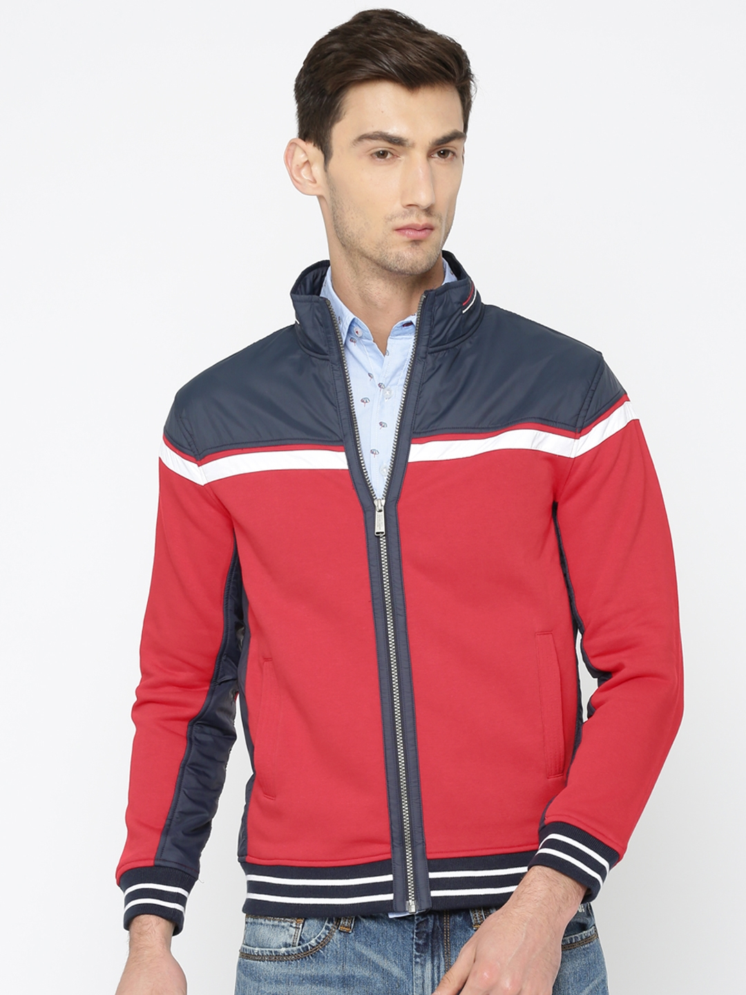 2e702d666333e Buy Octave Men Red   Navy Colourblocked Bomber Jacket - Jackets for ...