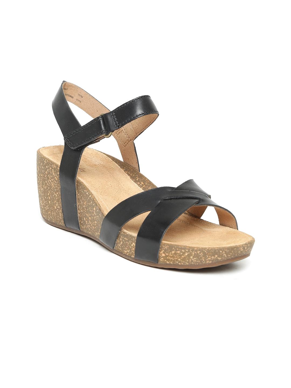 f7fa624c4fa5 Buy Clarks Women Black Cork Pattern Leather Wedges - Heels for Women ...