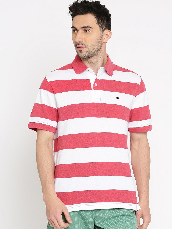 d4b7618e Buy Tommy Hilfiger Men White Striped Polo Collar T Shirt - Tshirts ...