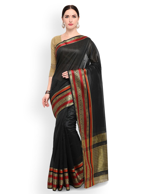 Varkala Silk Sarees Black Cotton Blend Solid Banarasi Saree