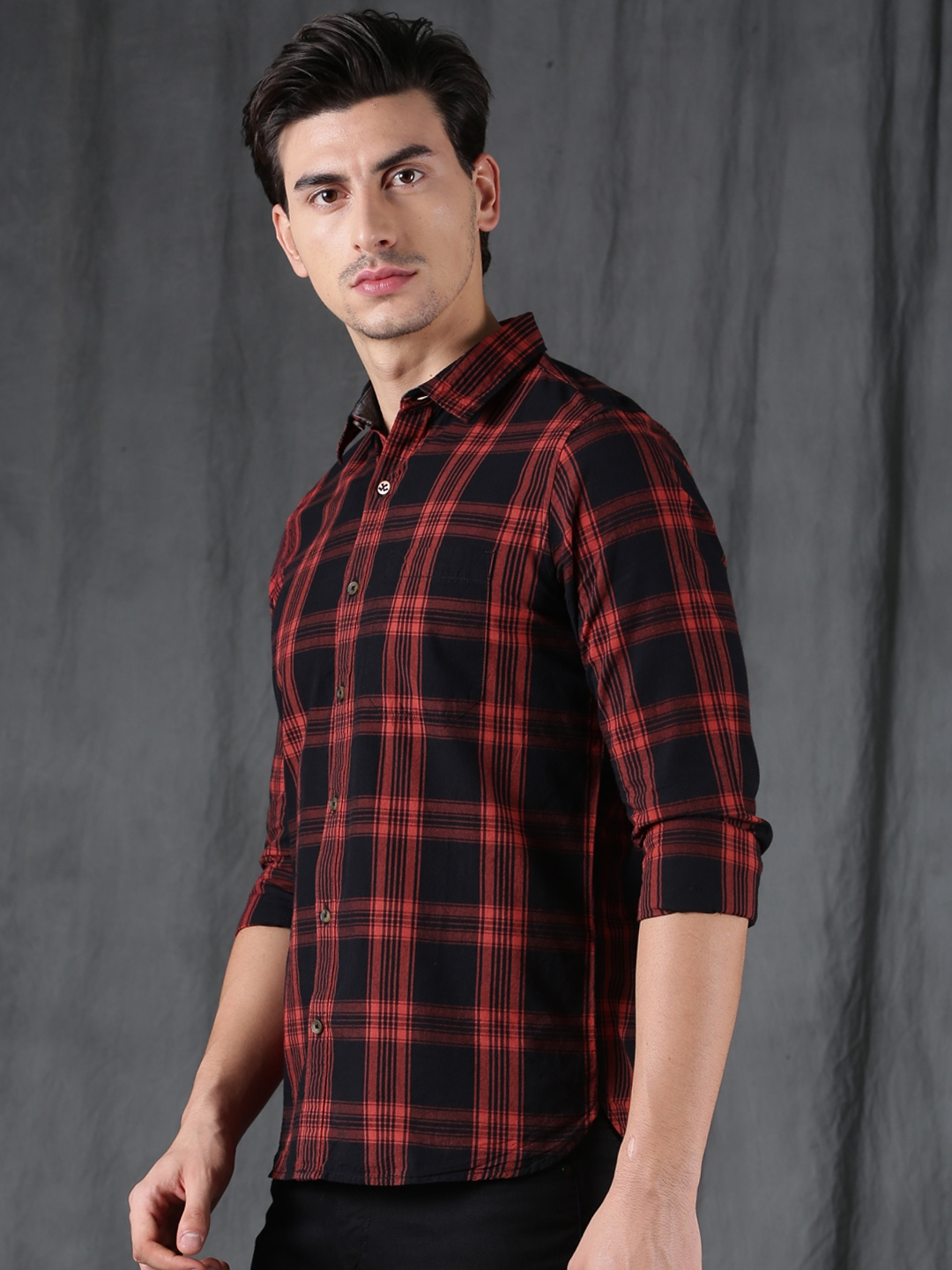 1ca053a027b Buy WROGN Men Orange   Black Slim Fit Checked Casual Shirt - Shirts ...