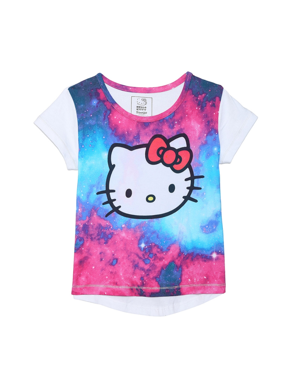 89afdc968 Hello Kitty by Kidsville Girls White Printed Round Neck T-shirt. Best Price:  ...
