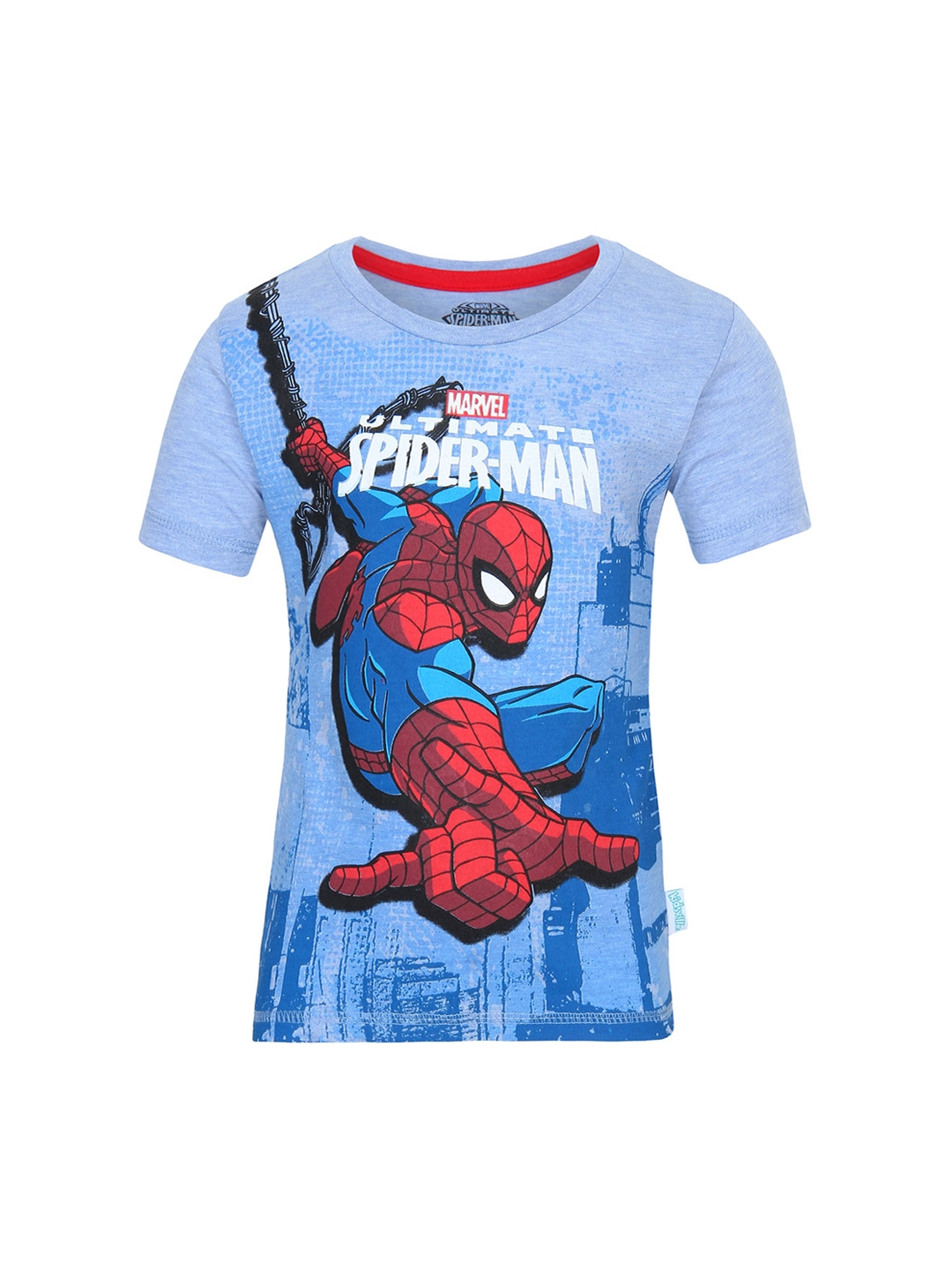 3959dd75 The Amazing Spiderman by Kids Ville Boys Blue Printed Round Neck T-shirt