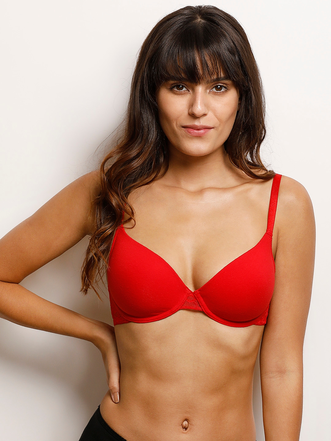 28151de3988e Buy Zivame Red Solid Underwired Lightly Padded T Shirt Bra - Bra for ...