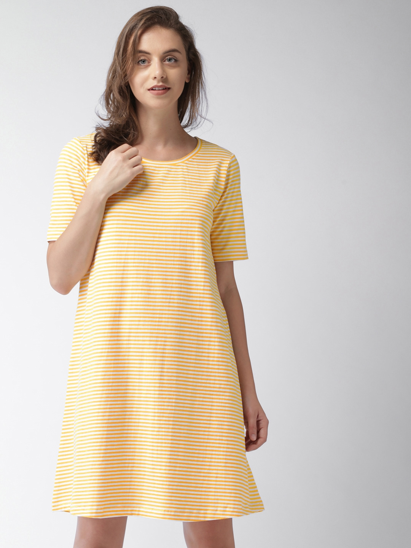 ff22d5f54e Buy Mast   Harbour Women Yellow   White Striped A Line Dress ...