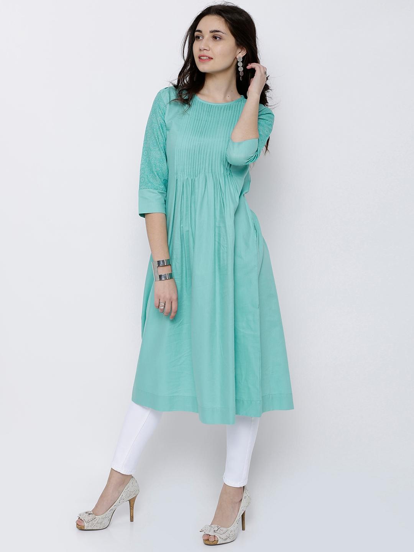 2abf1af3ddc Buy Vishudh Women Green Solid A Line Kurta - Kurtas for Women ...