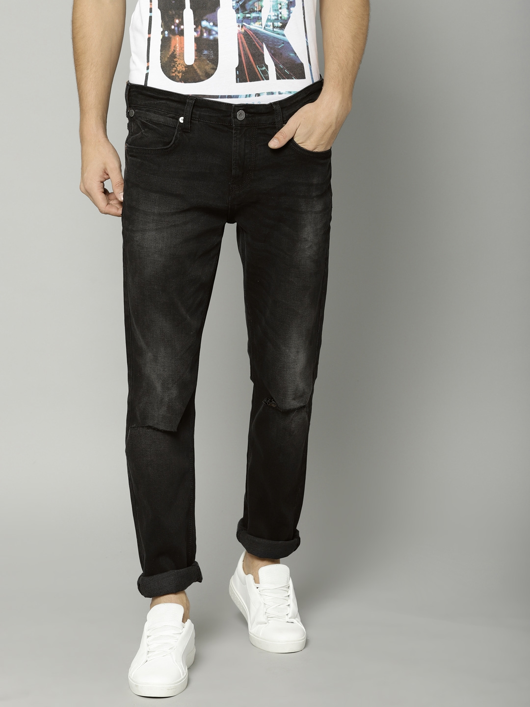 c6cfdd00170e French Connection Men Black Slim Straight Fit Mid-Rise Slash Knee  Stretchable Jeans