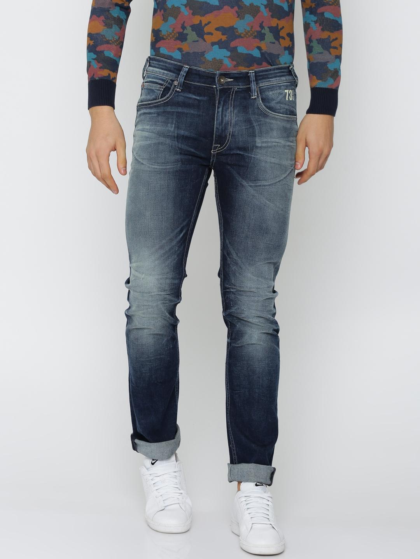 f7192e5b85 Pepe Jeans Men Blue Vapour Slim Fit Low-Rise Clean Look Stretchable Jeans