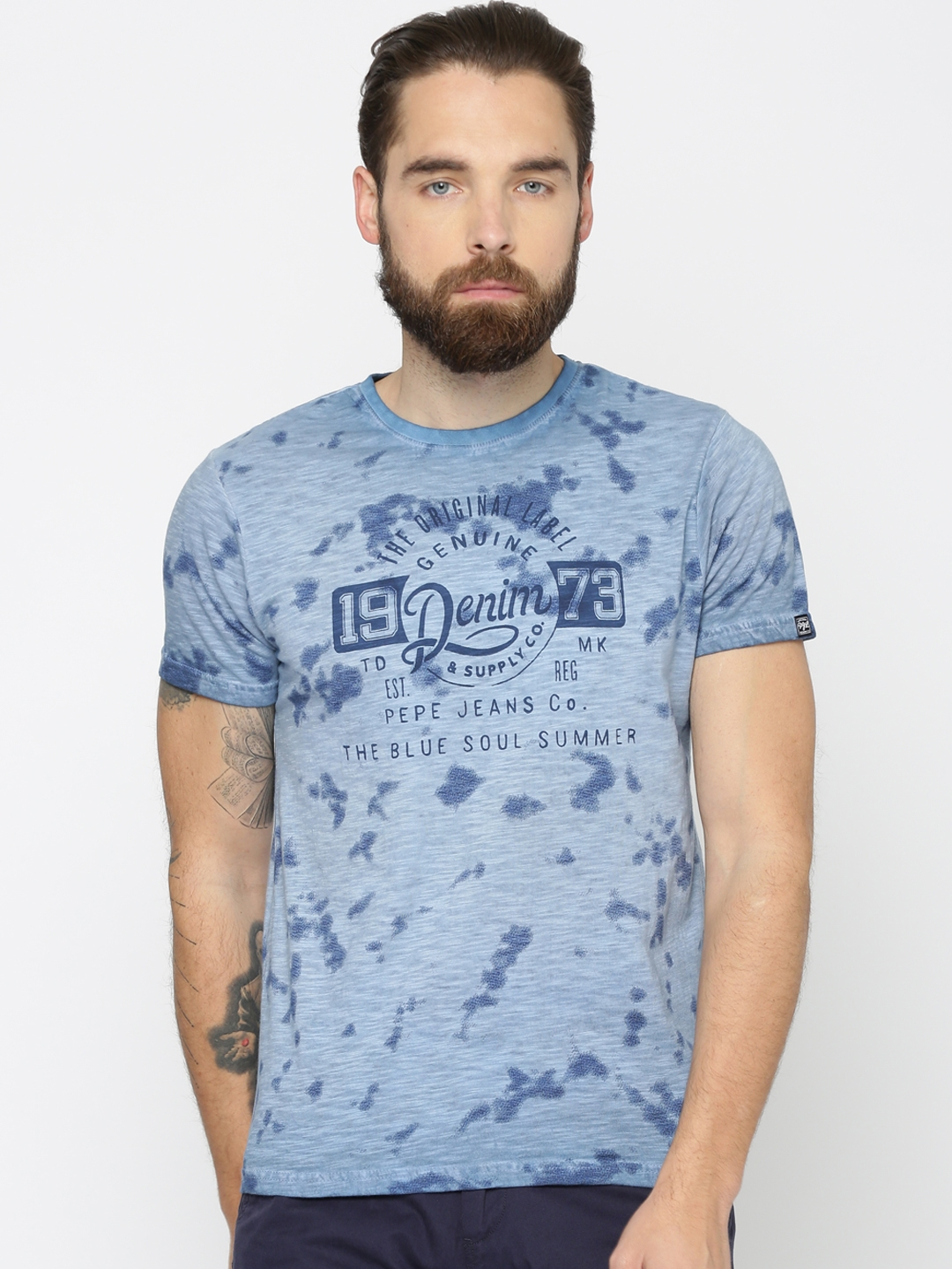 Buy Pepe Jeans Men Blue Printed Round Neck T Shirt Tshirts For Men 2301947 Myntra