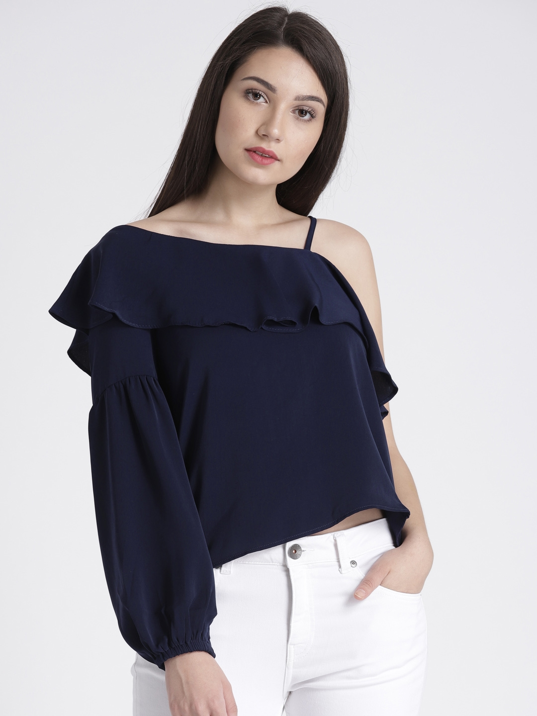 b68a17e0fb9eb0 Buy Splash Women Navy Blue Solid One Shoulder Top - Tops for Women ...