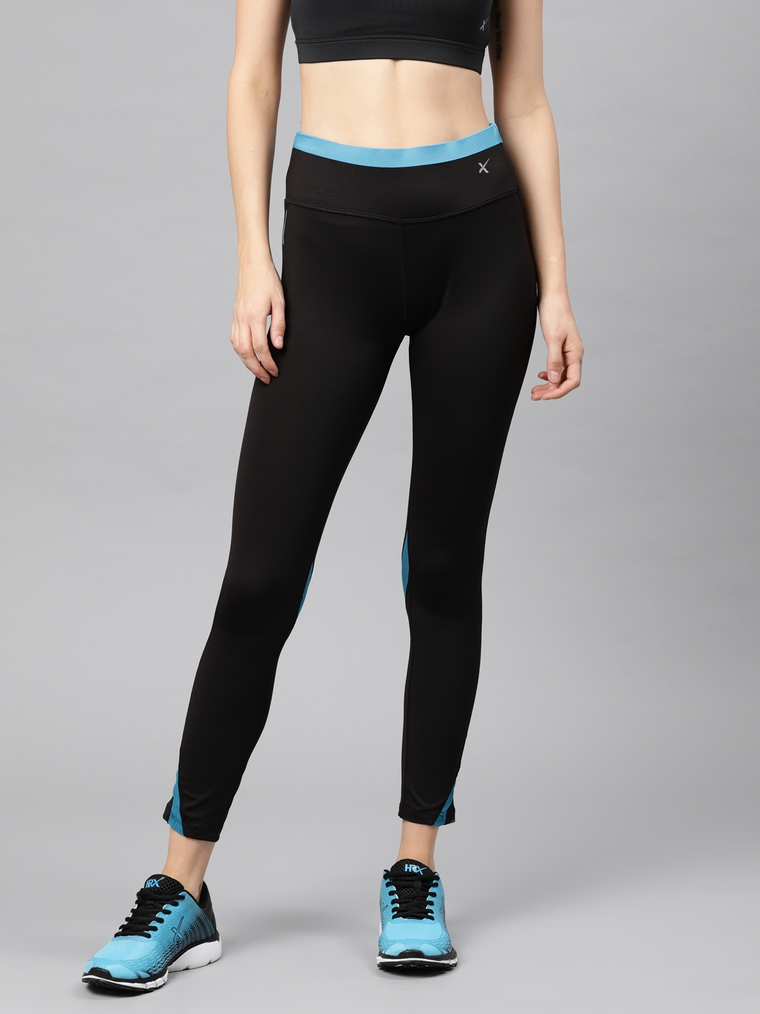 a9ba37588 Buy HRX Active By Hrithik Roshan Women Black Solid Tights - Tights ...