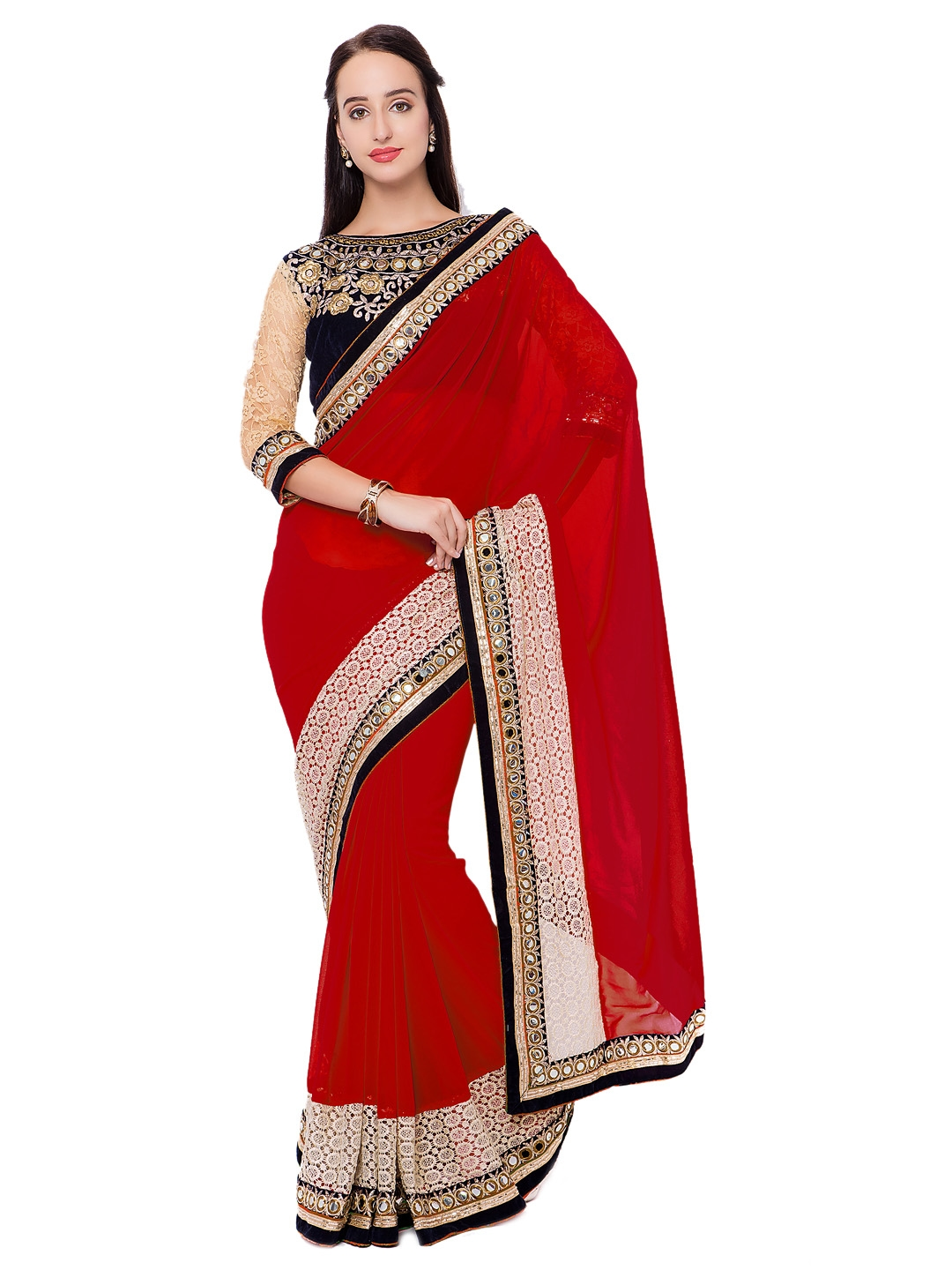ff0259f4129 Buy Triveni Red Embellished Poly Georgette Saree - Sarees for Women ...