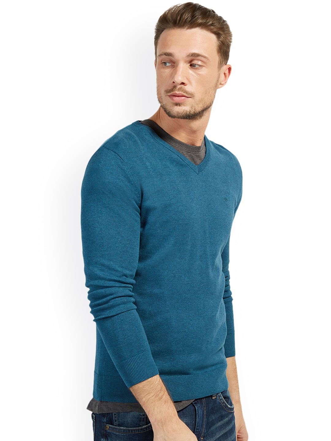e6cbd71497 Buy Tom Tailor Men Blue Solid Pullover - Sweaters for Men 2308858 ...