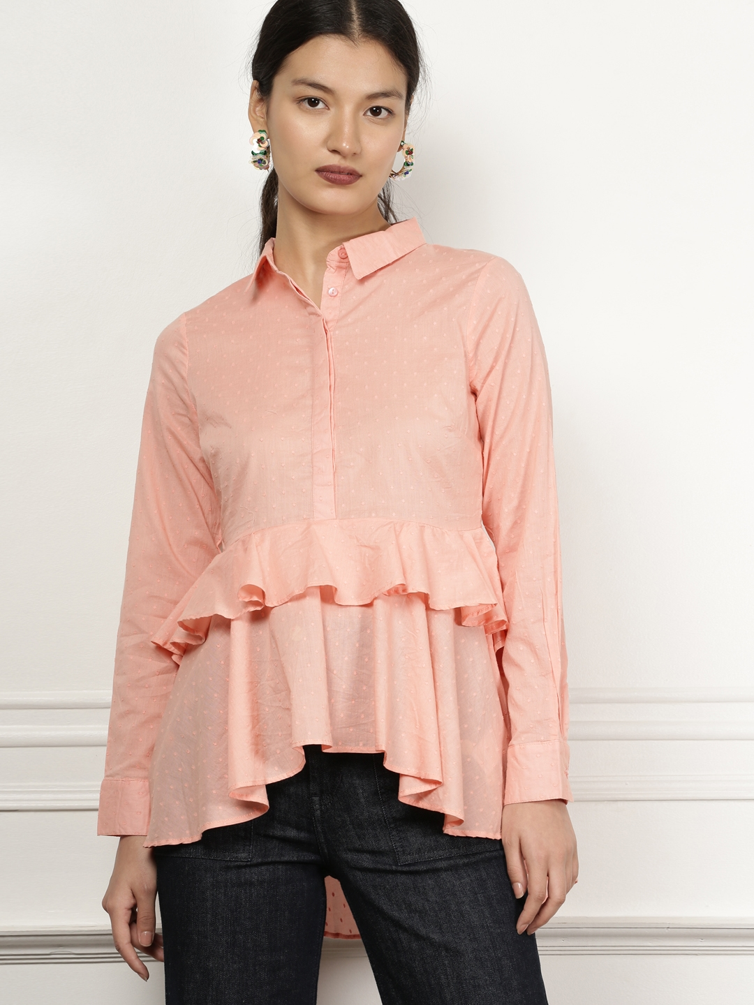 4315d2d12 all about you from Deepika Padukone Women Coral Self Design Shirt Style Top