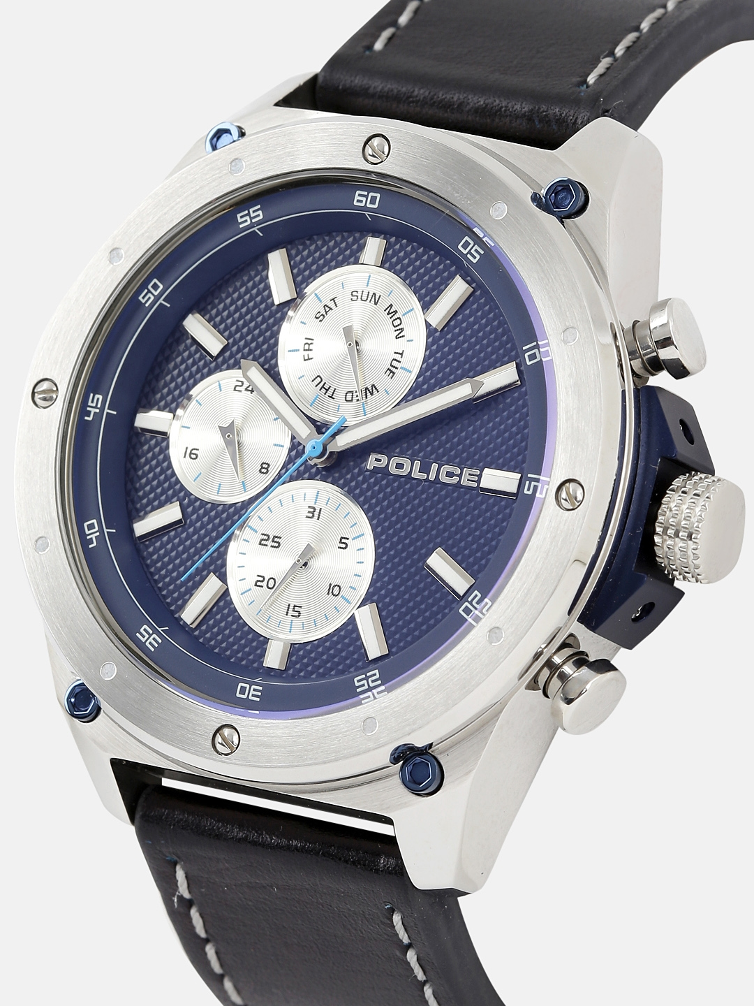 49d39a63581 Buy Police Men Navy Blue   Silver Toned Analogue Watch ...