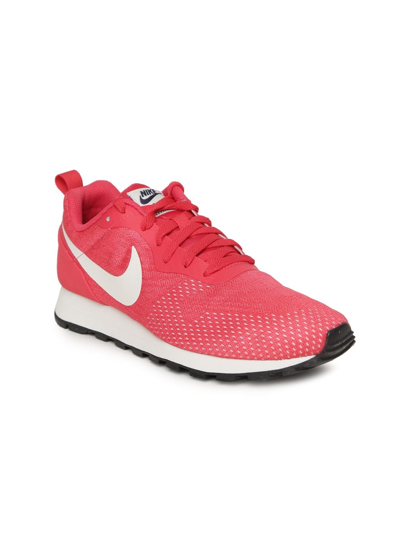 on sale ffad2 ef68c Nike Women Coral Pink MD RUNNER 2 ENG Mesh Sneakers