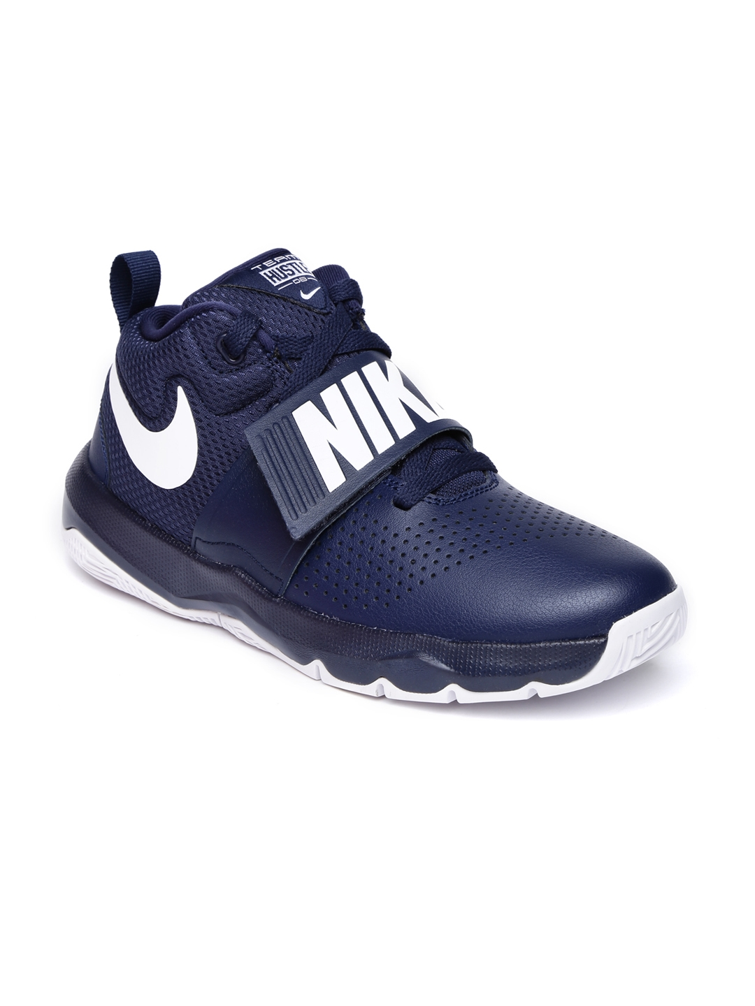 separation shoes 0b832 870f3 Nike Boys Navy Blue TEAM HUSTLE D 8 Leather Mid-Top Basketball Shoes