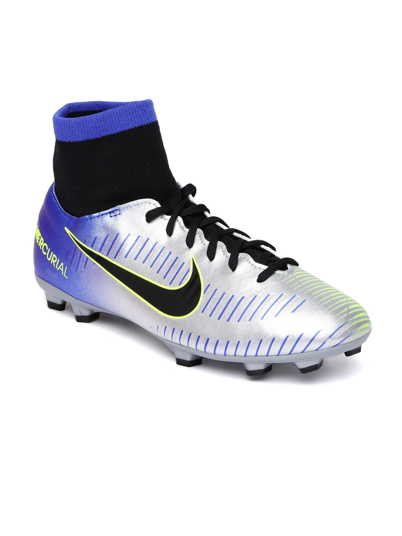 39e7a4e5ac86 Nike Kids Silver-Toned   Blue MERCURIAL VCTRY 6 DF neymar firm ground  Football Shoes