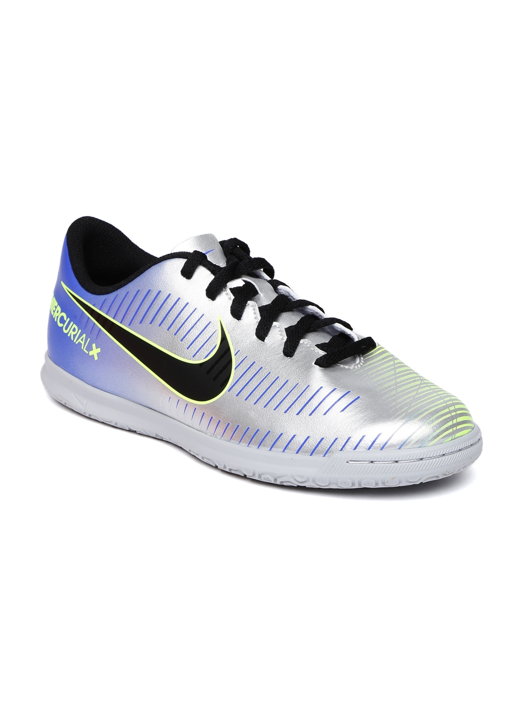 1a41517ed Nike Kids Silver-Toned MERCURIALX VRTX III neymar indoor court Football  Shoes
