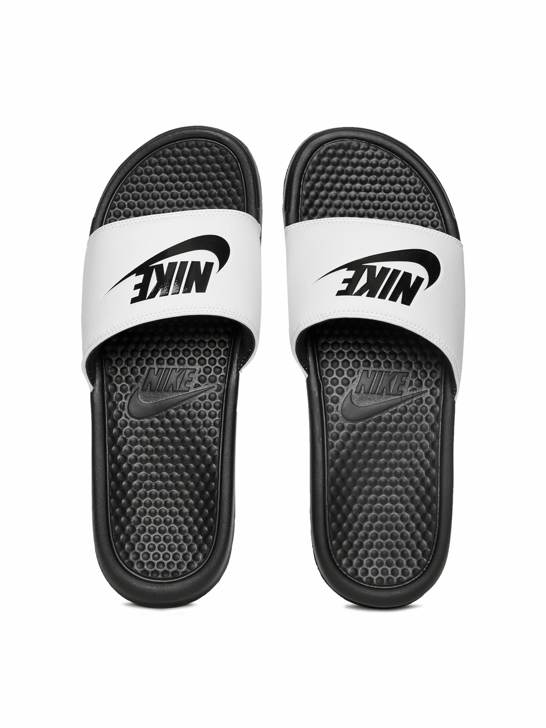 best authentic c30f4 21c13 Nike Men White   Black BENASSI JDI Printed Flip-Flops