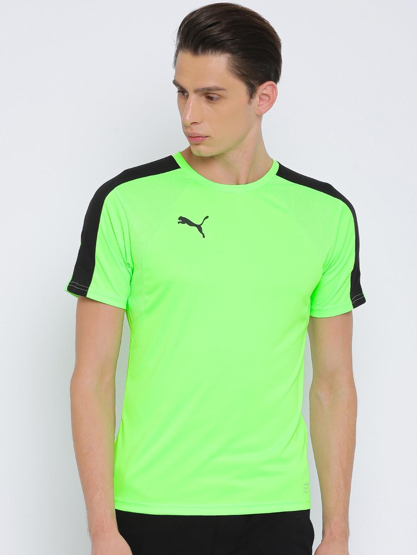 c3583761ed6 Buy Puma Men Fluorescent Green Solid EvoTRG Training T Shirt ...