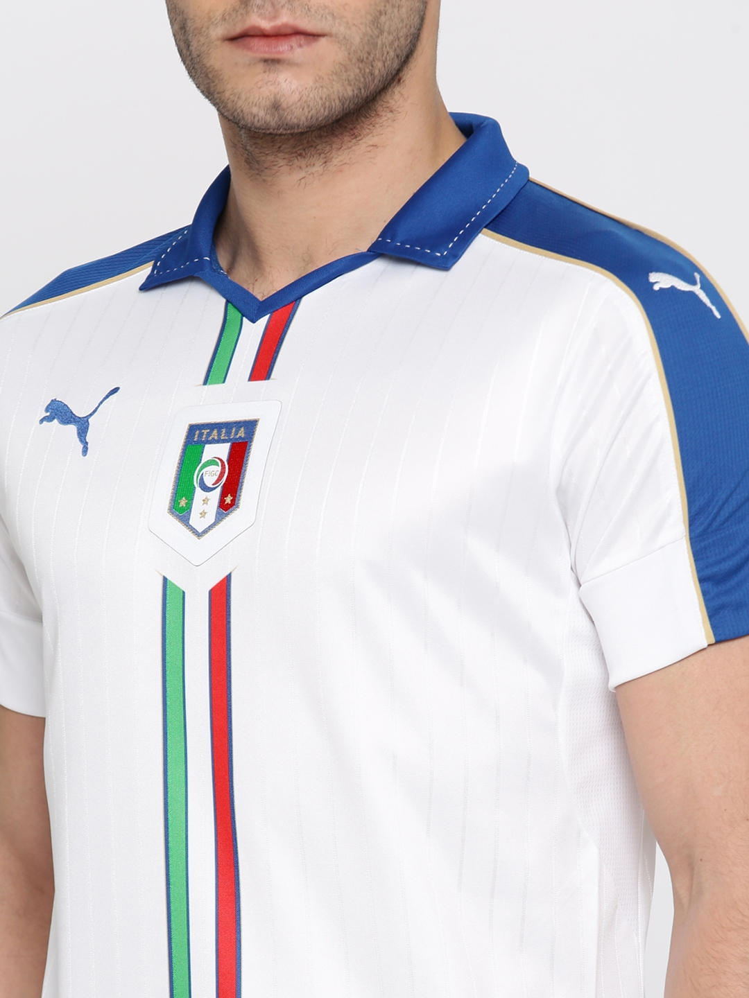 2663490d3 Buy Puma Men White Striped FIGC Italia Away Shirt Replica T Shirt ...