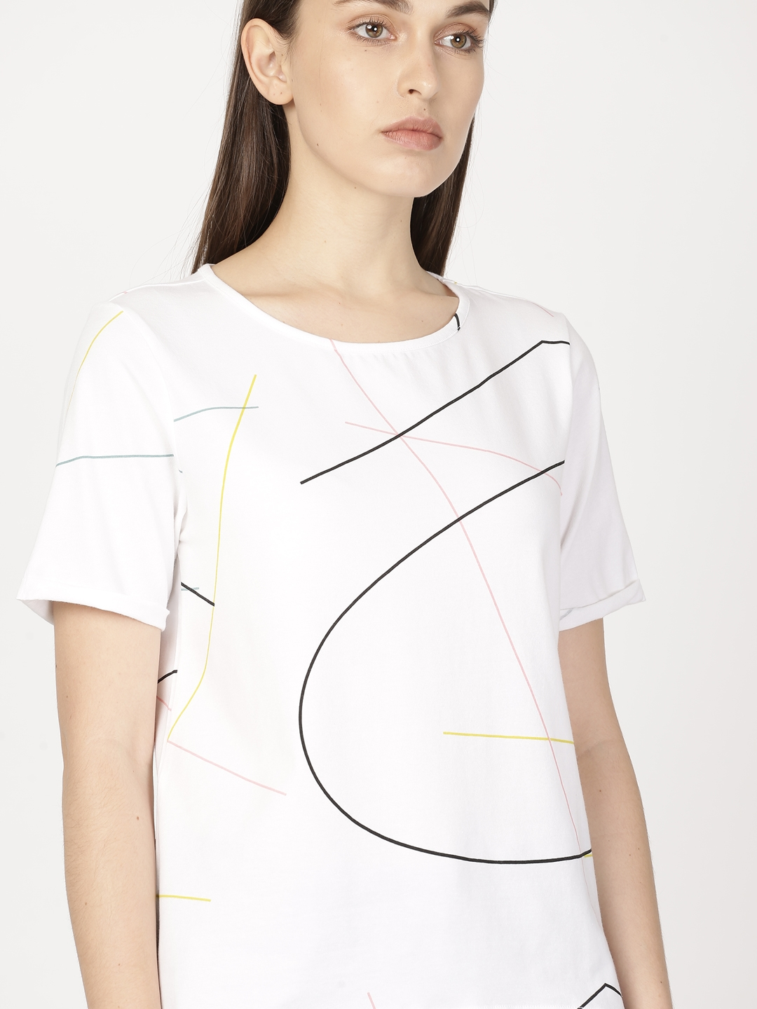 6e0793ac726 Buy Ether Women White Printed Round Neck T Shirt - Tshirts for Women ...