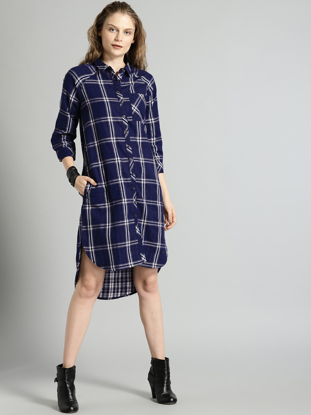 Buy Roadster Women Navy White Checked Shirt Dress Dresses For