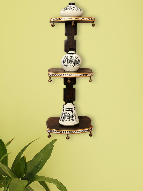 ExclusiveLane Wooden Wall Shelf With 3 Pc Terracotta Warli Handpainted Pots