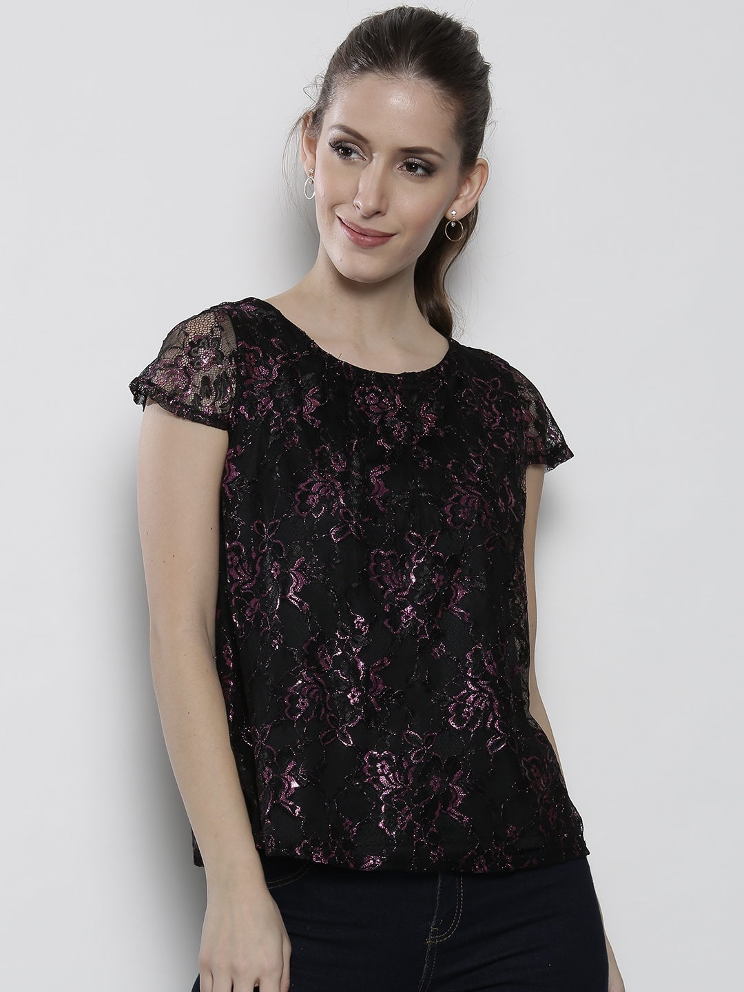 e74a5e9ce0a968 Buy DOROTHY PERKINS Women Black Lace A Line Top - Tops for Women ...